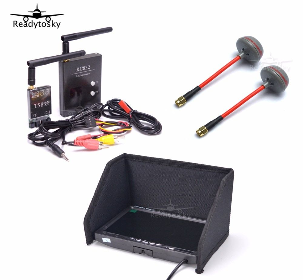 FPV Kit Combo System 5.8Ghz 600mw 48CH TS832 RC832 Plus + 7 inch LCD 1024 x 600 Monitor + Fatshark Antenna for Quadcopter