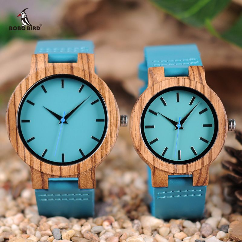 BOBO BIRD Lovers Watches Zebra Wooden Timepieces Turquoise Blue Wrist Watch Men Women Great Gift Relogio Masculino Drop Shipping