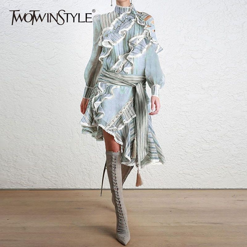 TWOTWINSTYLE Striped Dress Female Ruffles Off Shoulder <font><b>Lantern</b></font> Sleeve Belt High Waist Asymmetrical Dresses 2018 Spring Tide New