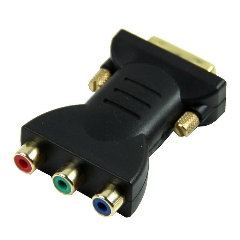 MYLB 1 DVI-I24 + 5 Stecker auf 3 Cinch-buchse Konverter Adapter (Schwarz)