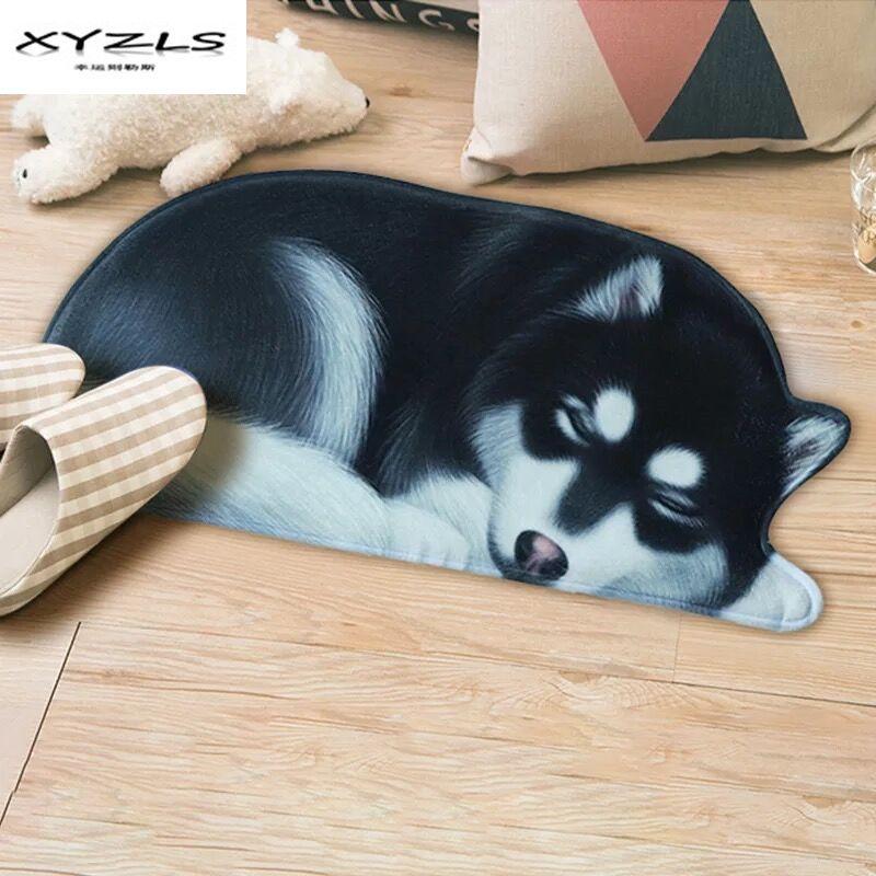 XYZLS Creative 3d Dog Shape Doormat Anti-slip Rugs for Living Room Carpets for Bedroom Kitchen Bathroom Floor Mat