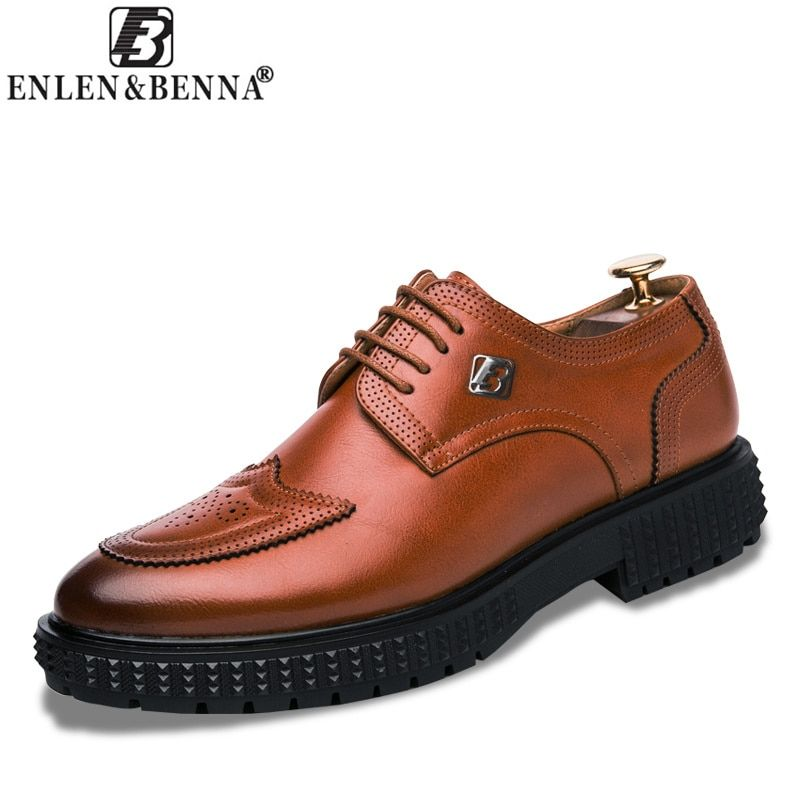 Men's Casual Shoes Oxfords Lace-Up Height Increasing Pointed Leather Business Formal Comfortable and Breathable Sapato Masculino