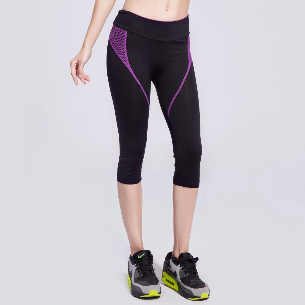 Women's Sports Tight pants Splicing Mesh High Elastic Quick Dry Breathable Outdoor Fitness Running Yoga Slim Pants