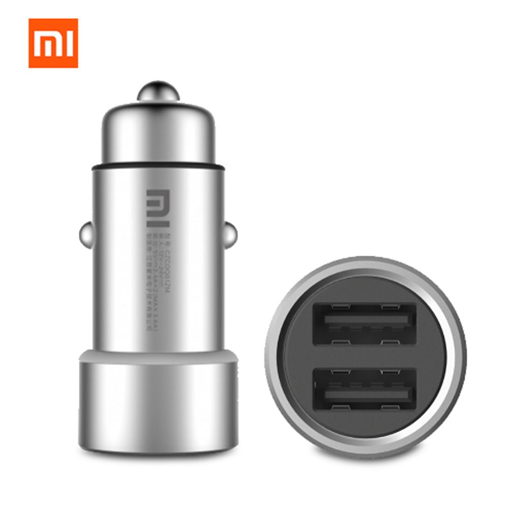 2018 Original Xiaomi Mi Car Charger Dual USB Max 5V/3.5A Metal Style Mobile Phone Travel Adapter Cigar Lighter Metal Car Charger