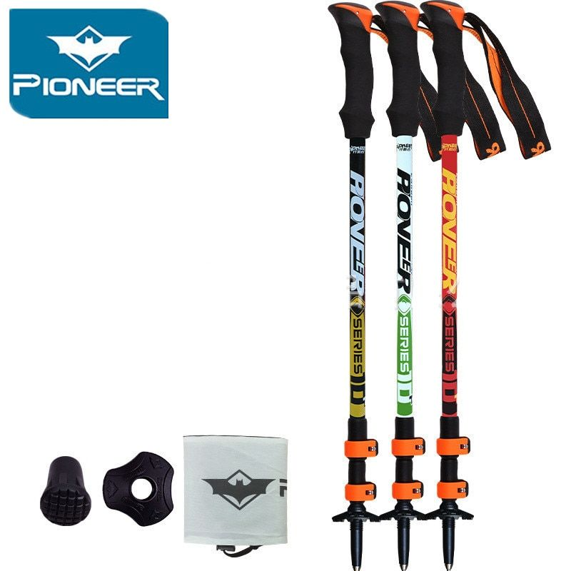 2018 Pioneer Ultra-light Adjustable Camping Hiking Walking Trekking Stick Alpenstock Carbon Fiber Climbing Skiing Trekking Pole