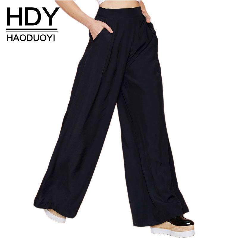 HDY Haoduoyi Hot Sale Women Black Wide Leg Casual Loose Palazzo Trousers Elegant Zipper High Waist Pants New <font><b>Arrivals</b></font>