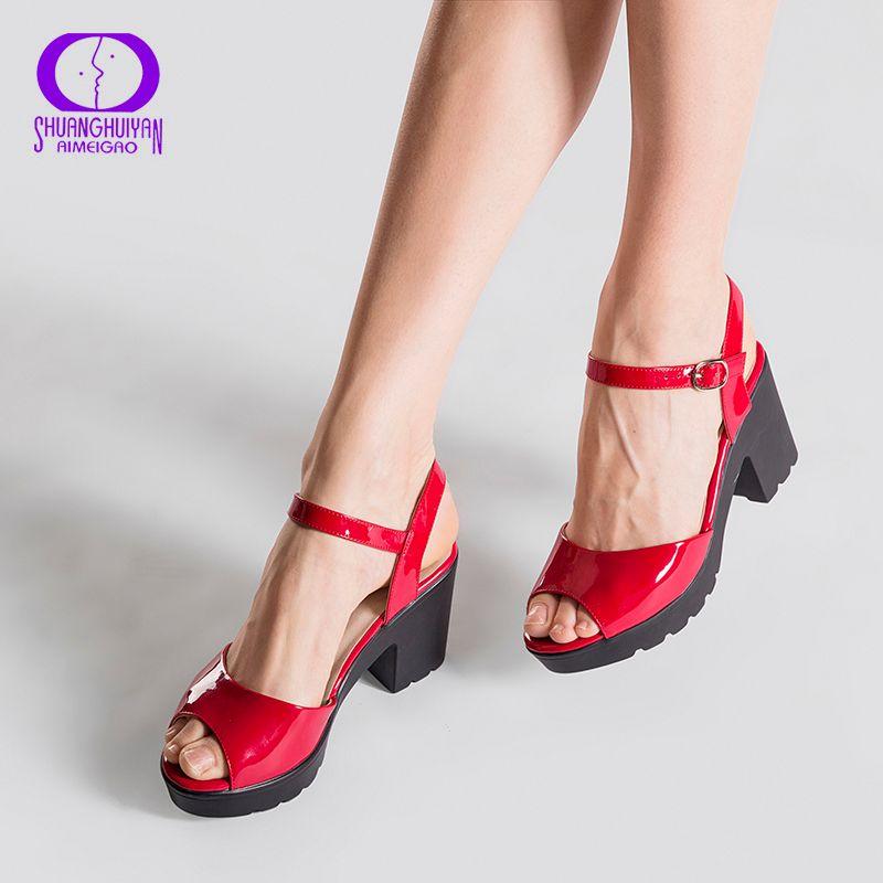 Big Size Summer Red Wedge Platform Women High Heels Sandals Open Toe <font><b>Fish</b></font> Head Fashion Buckle Strap Sandals Shoes For Women
