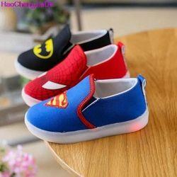 Haochengjiade niños Spiderman Zapatos con luz bebé lona sneakers LED sneakers niños Zapatos para Niños Niñas chaussure enfant 047