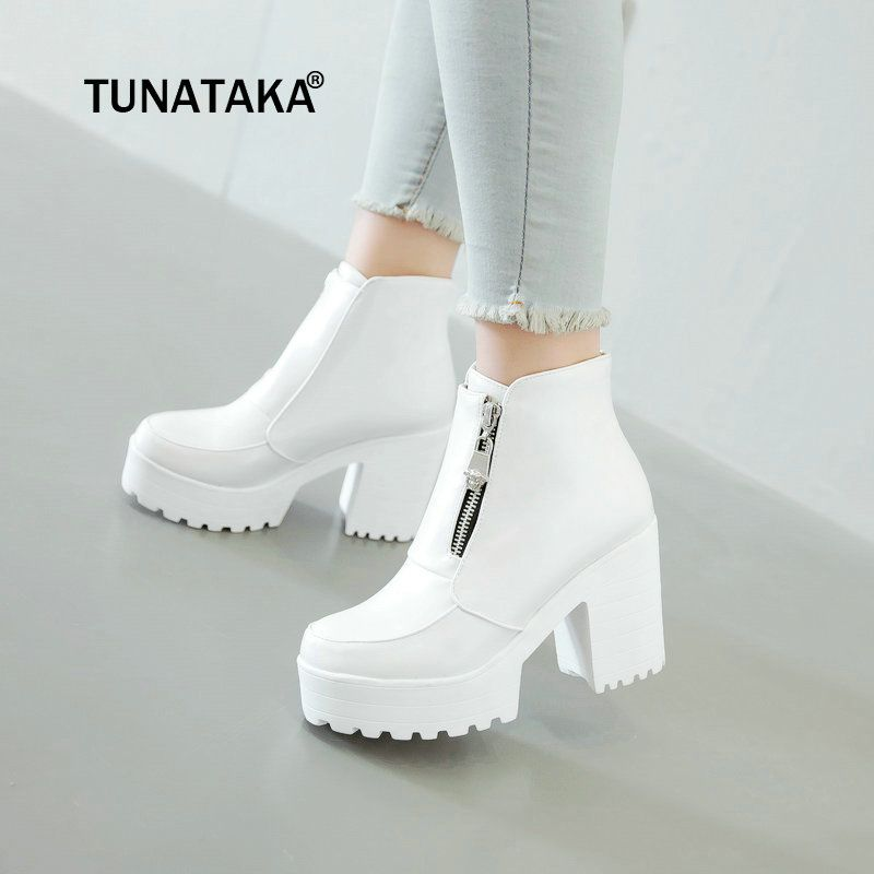 Women's Fashion Side Zipper Ankle Boots Platform Thick High Heel Ladies Boots Winter Woman Shoes White Black Plus Size 2018