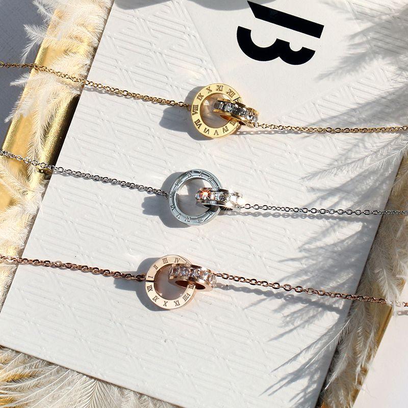 YUNRUO bijoux en acier titane pur couleur or Rose numéro romain cristal pendentif collier cadeau d'anniversaire pour femme/fille en gros