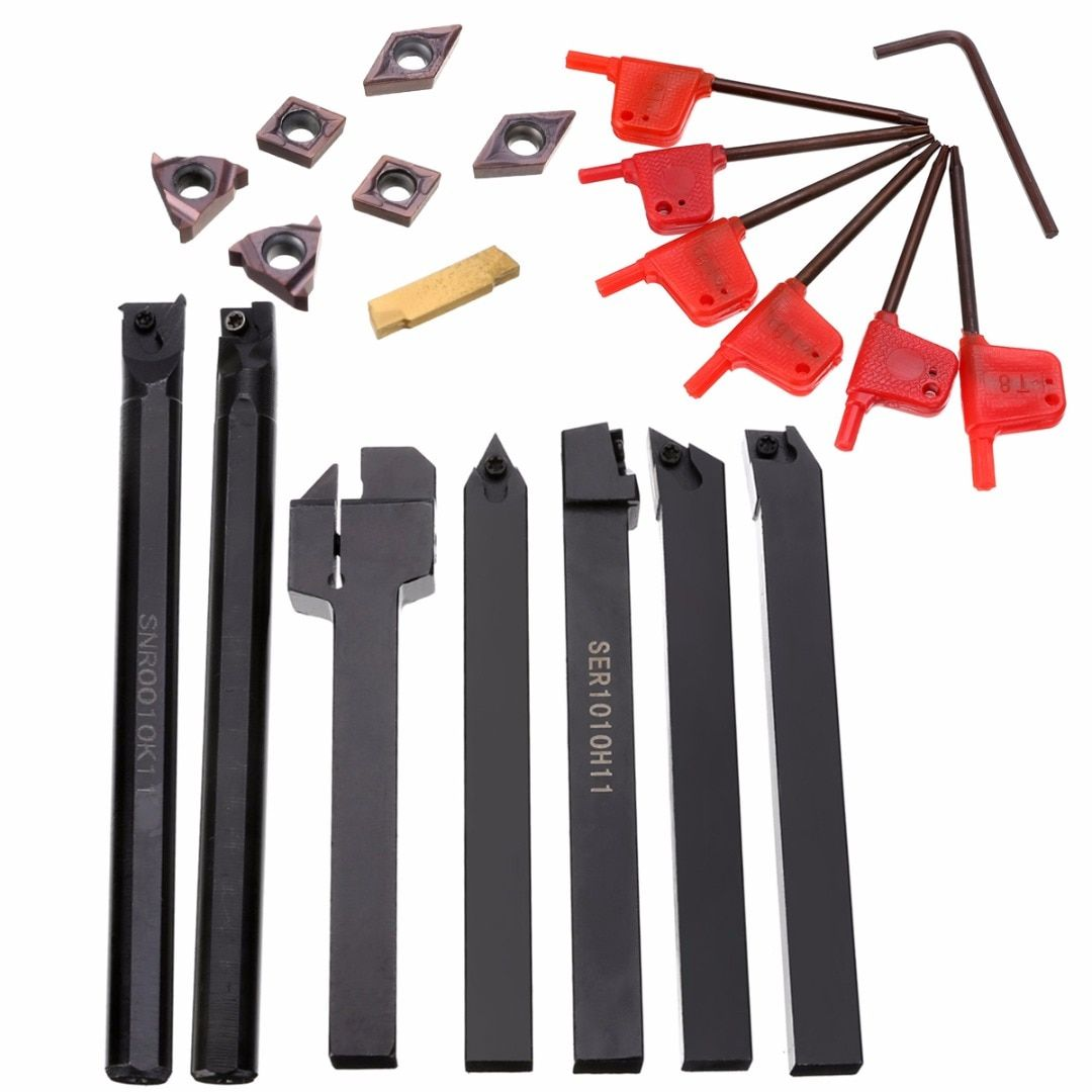 7pcs 10mm Shank Tool Holder Boring Bar + 7pcs Carbide Inserts Set with 7pcs Wrenches For Lathe Turning Tool