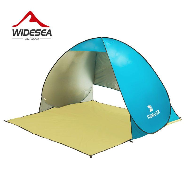Grand écran pop up tente de plage ouverte UV-protéger gazebo imperméable à l'eau rapide auvent d'ombre ouvert pour la plage en plein air pêche camping
