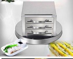 Cajón rollos de arroz máquina casera Fen Chang acero inoxidable 3 rejilla plato humeante vapor