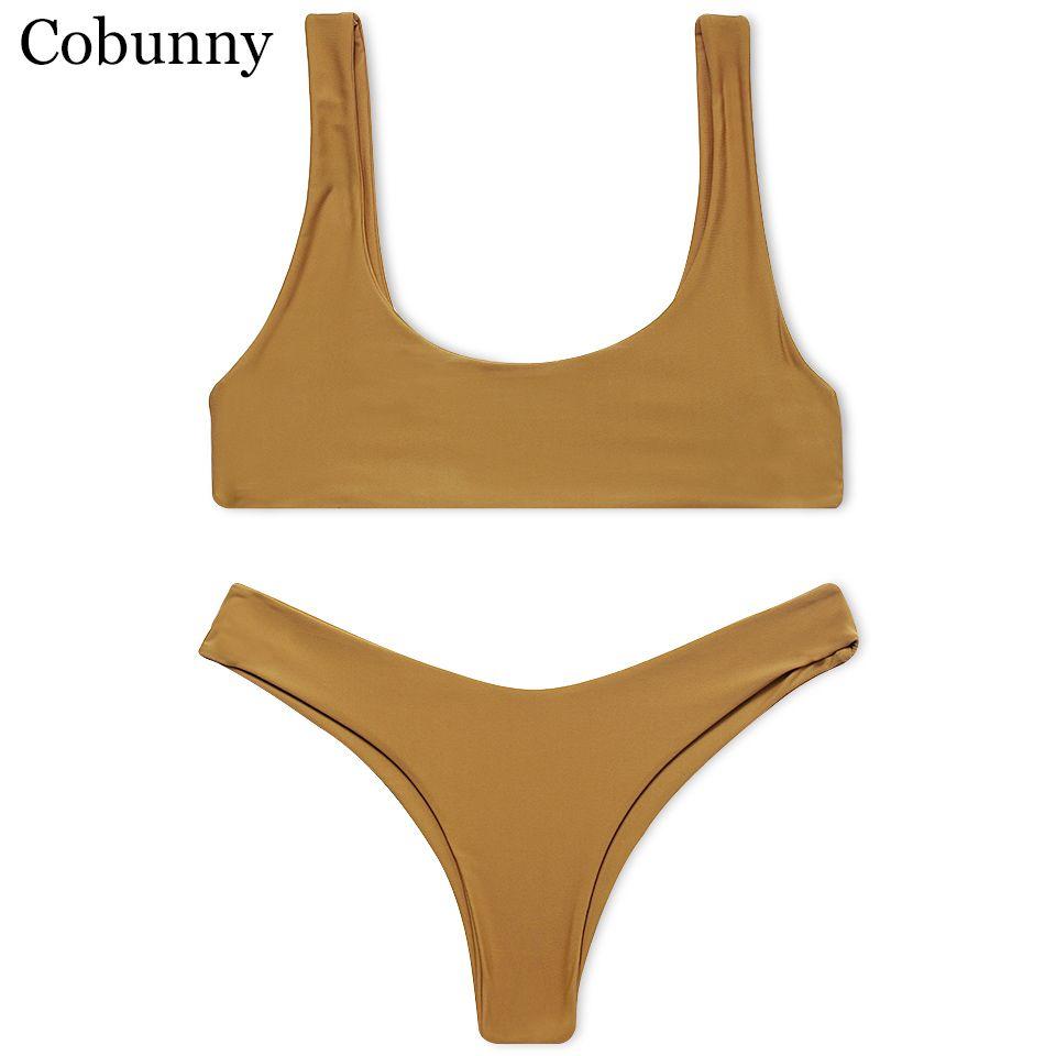 Cobunny Nuevo Estilo Playa traje de Baño Mujer Sexy Bikini 2017 Sport Bikini Set Backless Beach Verano Color Sólido Traje de Baño