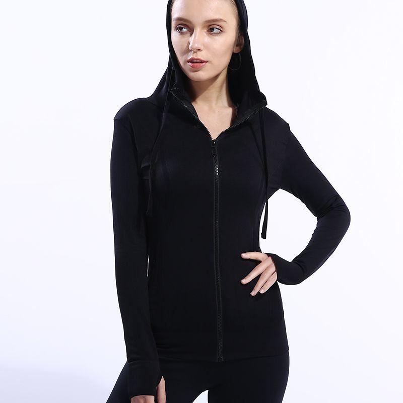 BESGO Frauen Einfarbig Yoga Jacken Zipper Hooded Quick Dry Im Freien Fitnessraum Sport Shirts Daumenloch Compression Fitness Jacken