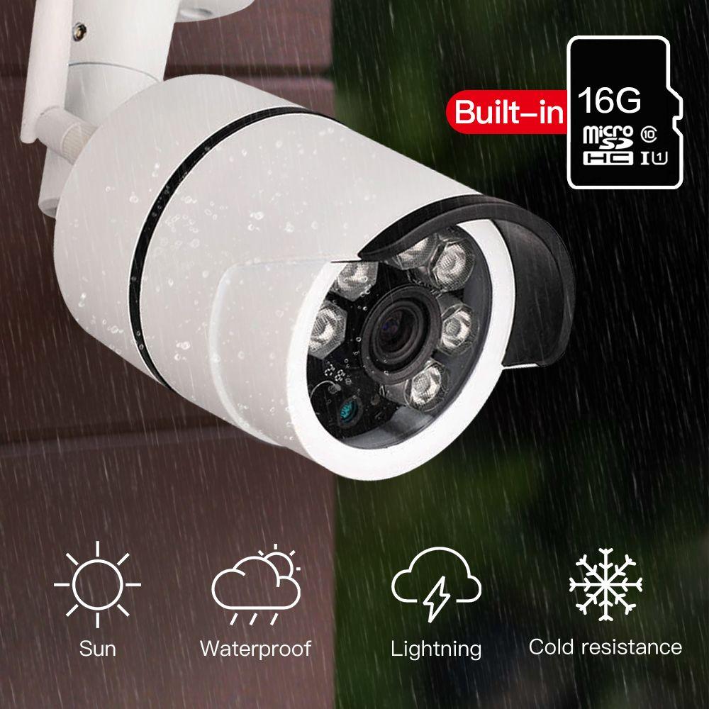 SDETER Outdoor Waterproof Bullet IP Camera Wifi Wireless Surveillance Camera Built-in 16G Memory Card CCTV Camera Night Vision