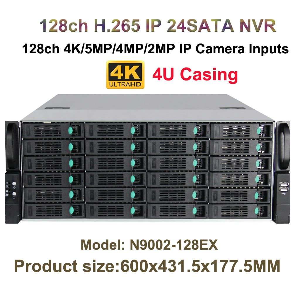 4U 24HDD Ports CCTV NVR H.265 128Ch 4K/5MP/3MP/2MP/960P 16Ch Alarm / 1080P Playback Onvif P2P Mobile Phone View Network Recorder