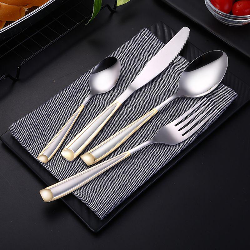 Lemeya 24 pièces/ensemble en acier inoxydable plaqué or couverts ensemble vaisselle Steak couteau fourchette cuillère Western alimentaire vaisselle livraison directe