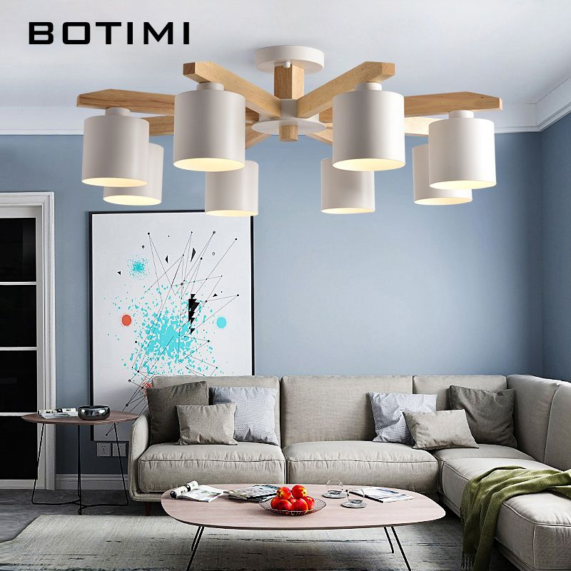 BOTIMI LED Chandelier For Living Room Wood Lustre E27 Chandelier Lighting With Lampshades Dining Table Chandeliers Kitchen Lamps