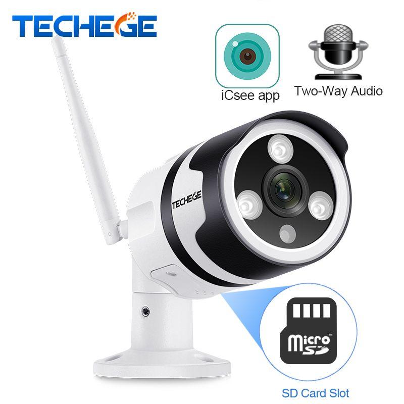 Techege Wifi IP camera 1080P outdoor Waterproof 2.0MP Wireless Security Camera Metal Two way Audio TF card Onvif Email Alert