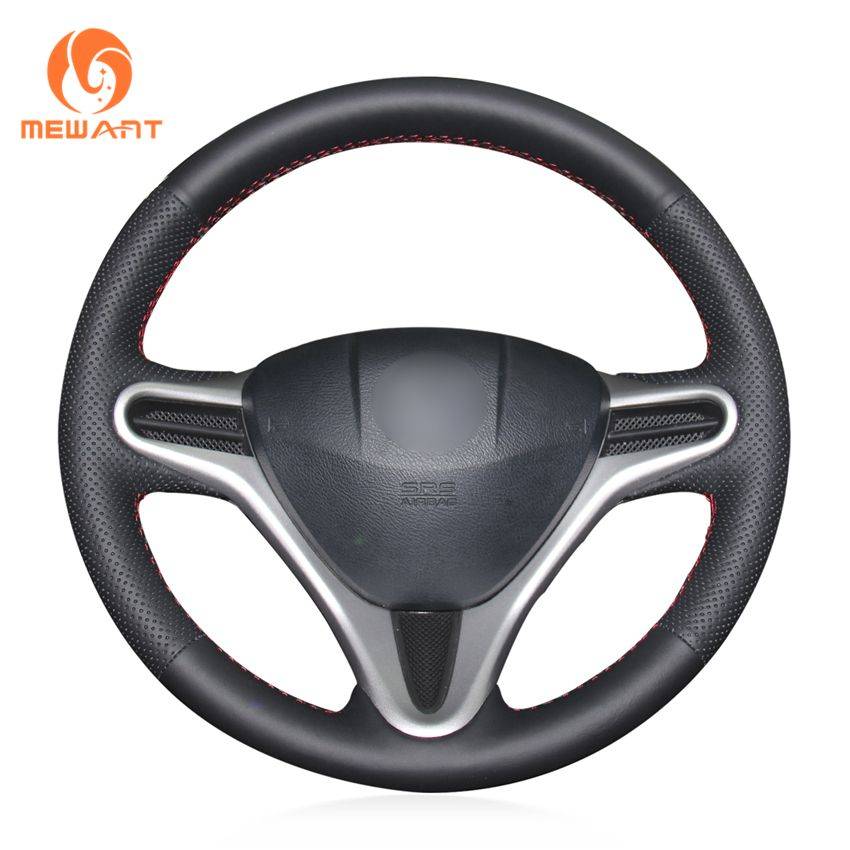 MEWANT Black Artificial Leather Car Steering Wheel Cover for Honda Fit 2009-2013 City 2009-2013 Jazz 2009-2013 Insight 2010-2014