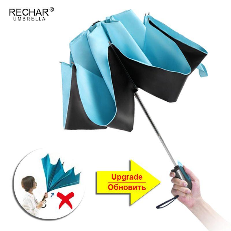 Automatique Inversé Parapluie Pluie Femmes Noir Revêtement Soleil Pliage Parapluie Enfants Coupe-Vent Parapluie De Voiture Hommes Parapluie Mujer Parasol