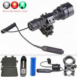XML T6 8000LM C8 caza linterna impermeable recargable potente linterna táctica de la antorcha luz de la lámpara de destello para 18650
