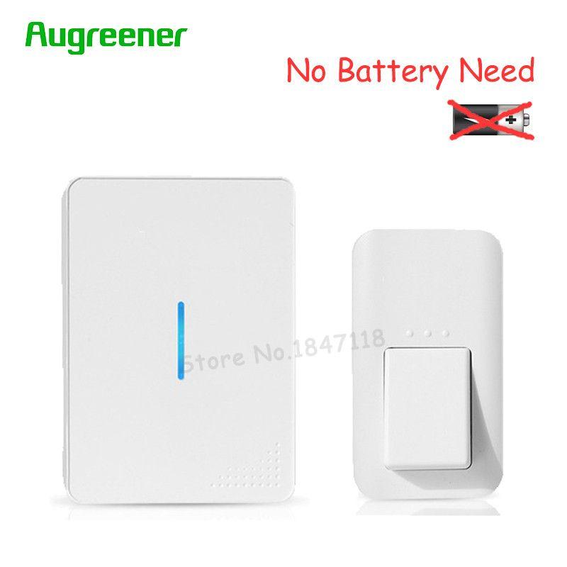 AuGreener No Battery Need Waterproof Door Bell 38 Melody Home Remote LED Wireless Doorbell 1 Doorbells Push Button + 2 Receivers