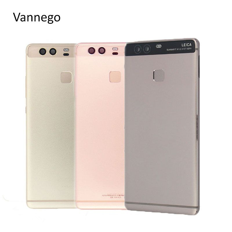 Vannego Original Battery Cover For Huawei P9 Housing Back Door Housing+ Side Buttons+ fingerprint sensor flex cable With Logo