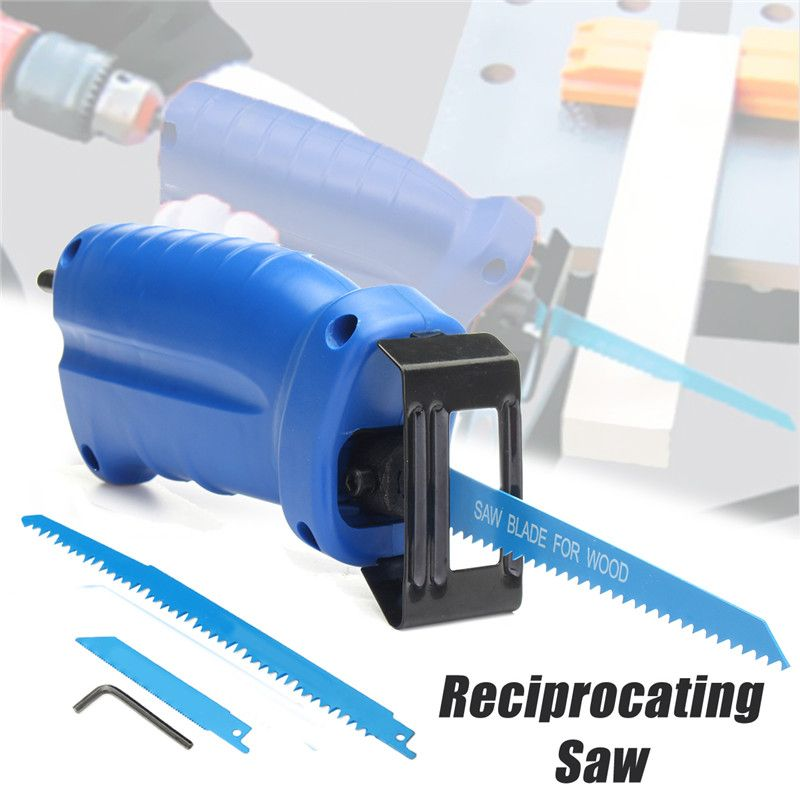 Reciprocating Saw Attachment Convert Adapter For Cordless Electric Power Drill Cutting Trimming Tool+3 Reciprocating Saw Blades
