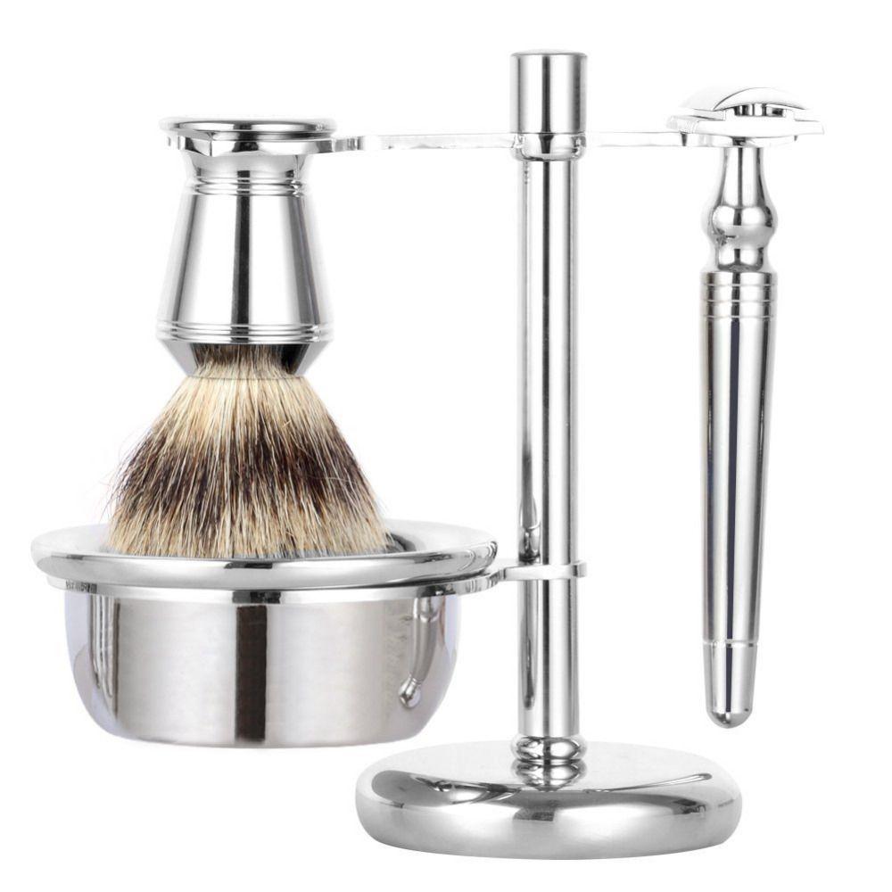 Grandslam sécurité rasoir rasage cadeau Kit Double bord Long poignée rasoir blaireau cheveux rasage brosse rasoir support en alliage ensembles