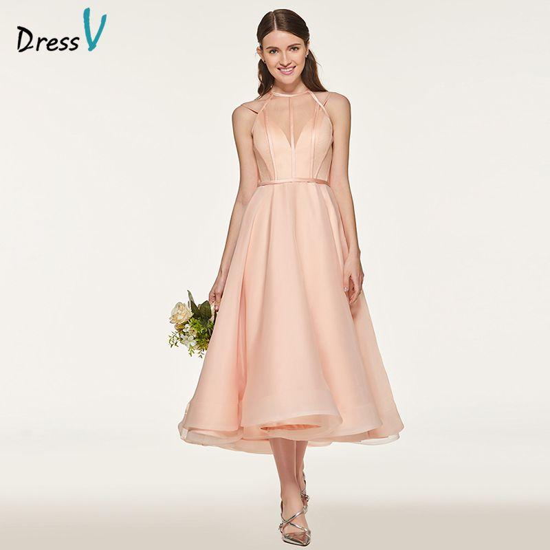 Dressv Pink Bridesmaid Dress Scoop Neck A Line Ankle Length Sleeveless Organza Satin Custom Wedding Party Bridesmaid Dress
