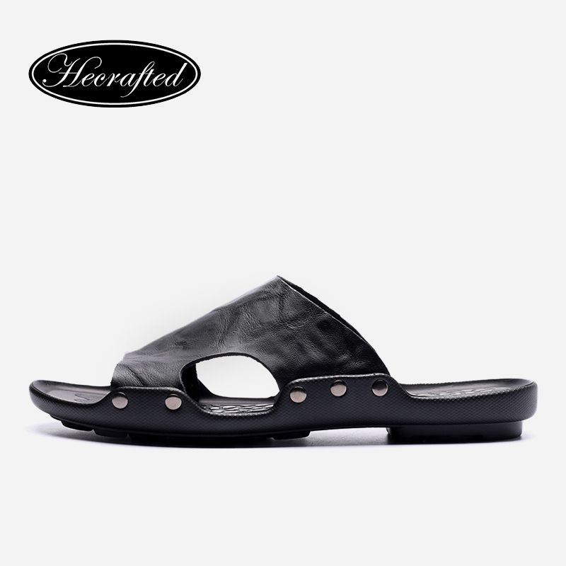 Plus size genuine leather men slippers 2018 casual handmade summer flip flops shoes #6022