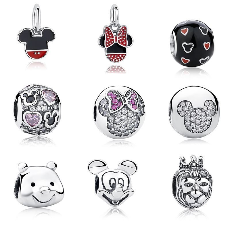 100% Authentic 925 Sterling Silver Cute Minnie & Miky Charm Beads Fit WST Bracelet Pendants DIY Original Jewelry