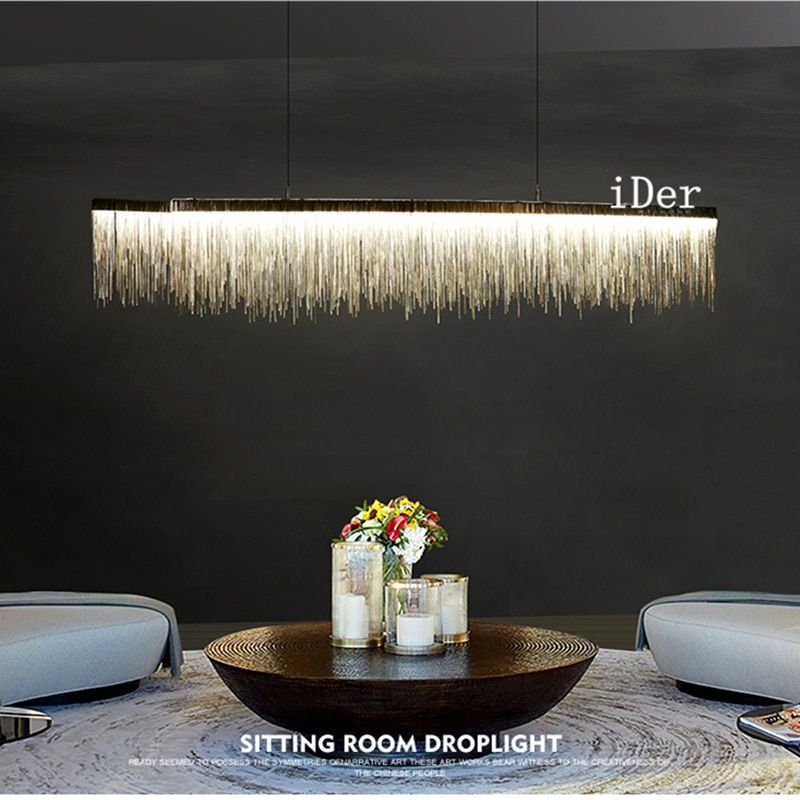 Postmodern designer Pendant Lights Nordic tassel restaurant luxury hotel engineering chain living room art hanging lights
