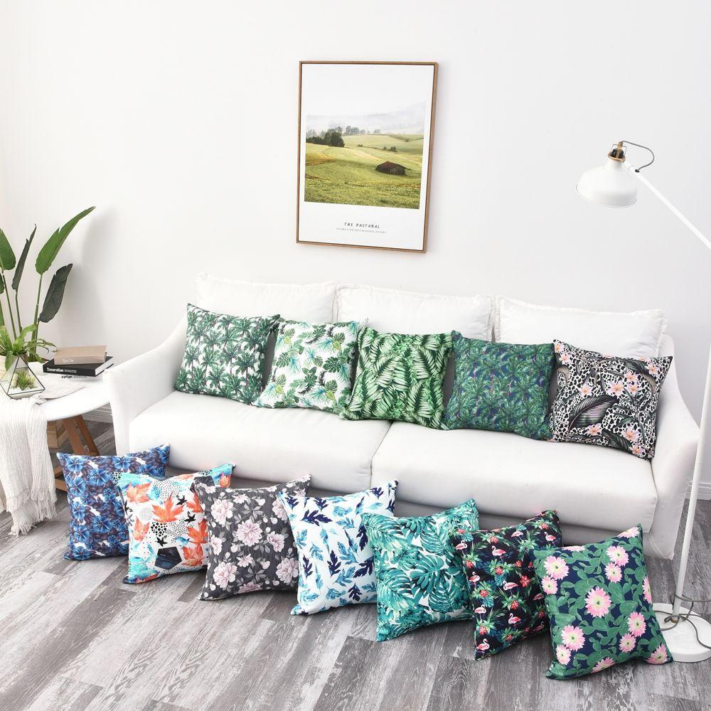 Plantes tropicales imprimé imperméable canapé housse de coussin jeter taie d'oreiller 40x40/45x45/50x50/55x55/60x60/65x65/70x70cm taie d'oreiller
