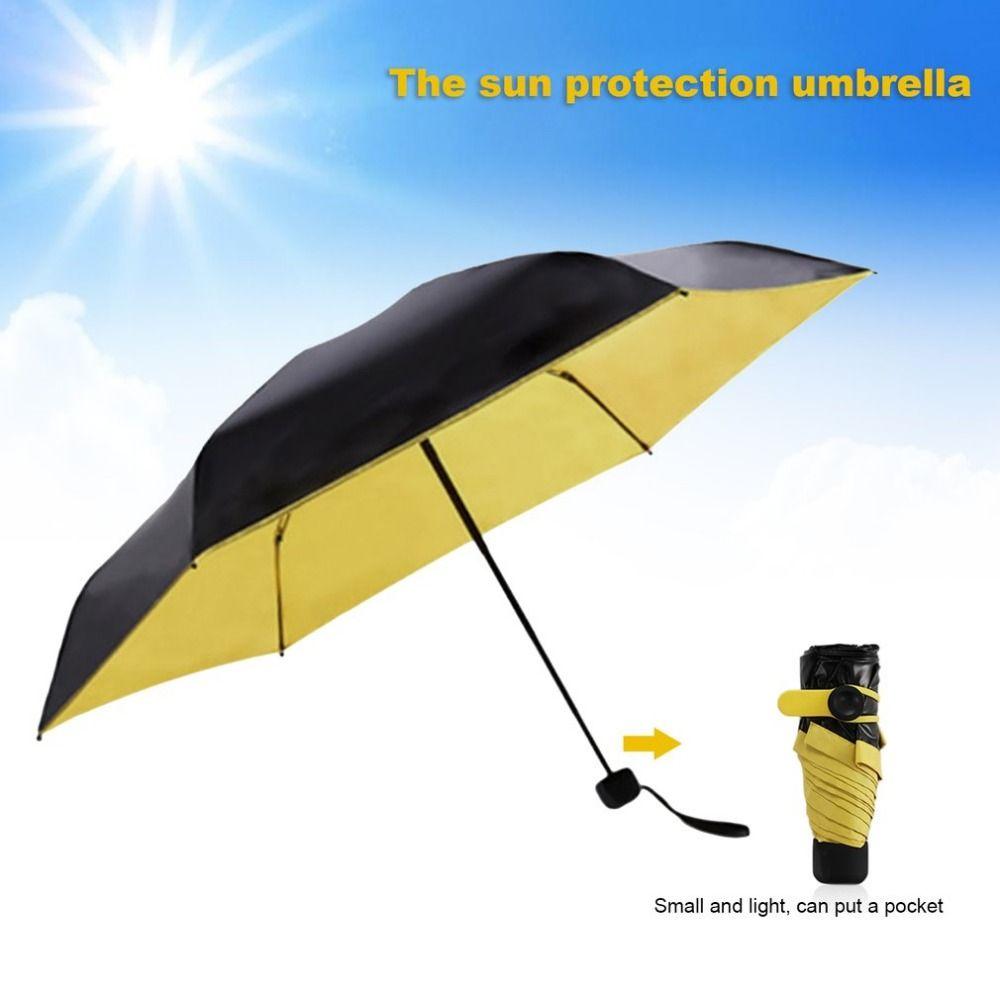 Mini de Bolsillo Paraguas Parasol Y Plegable Lluvia Paraguas Mujeres Anti UV sol paraguas parapluie Guarda Chuva sombrinha