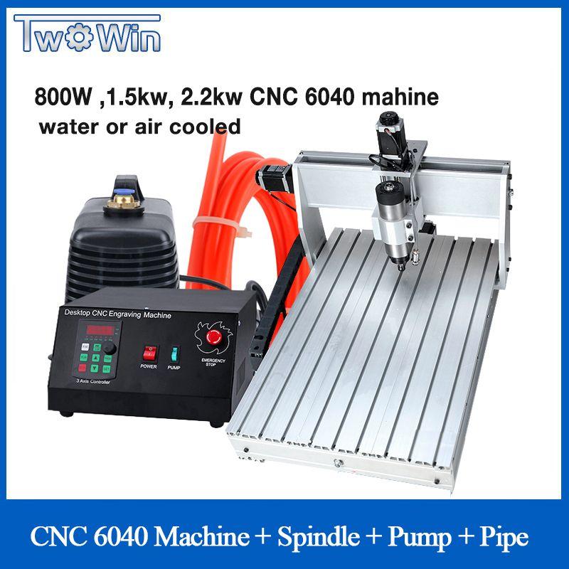 800 W 1.5kw 2.2kw CNC 6040 Drei-achse CNC Router Engraver Gravur Fräsen Bohren Schneiden Maschine + Control Box pumpe Rohr