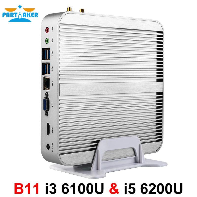 Parpreneur B11 entreprise Barebone ordinateur sans ventilateur Mini PC avec Intel Core i3 6100U i5 6200U i7 6500U i7 6600U 6th Gen Skylake CPU