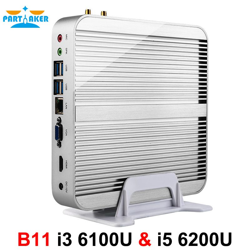 Teilhaftig B11 Business Barebone Computer Fanless Mini PC mit Intel Core i3 6100U i5 6200U i7 6500U i7 6600U 6th gen Skylake CPU