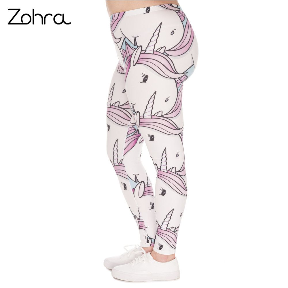 Zohra Hot Sales Large Size Leggings White Unicorns Printed High Waist Leggins Plus Size Trousers Stretch Pants For Plump Women