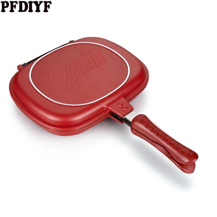 Offre Spéciale Ménage 28-32 cm Pan Double Side Grill Poêle À Frire Ustensiles de Cuisine Double Visage Pan Steak Poêle À Frire Crêpes en plein air fournitures De Cuisine