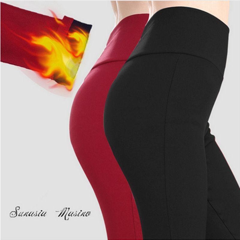Marque femmes Pantalon plus la taille S-6XL, 5XL taille haute pantalon hiver velours chaud fitness leggings legging par le milieu universitaire mulheres