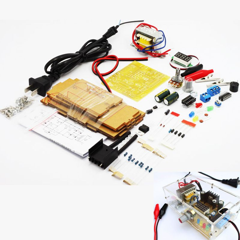 Updated version DIY LM317 Adjustable Voltage Power Supply Board <font><b>Learning</b></font> Kit with case learn kit free shipping