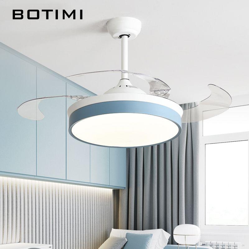 Botimi Moderne Decke Fans mit Lichter Für Wohnzimmer 42 Inch Fernbedienung Decke Fan Lampe 36 Zoll Schlafzimmer LED ventilator