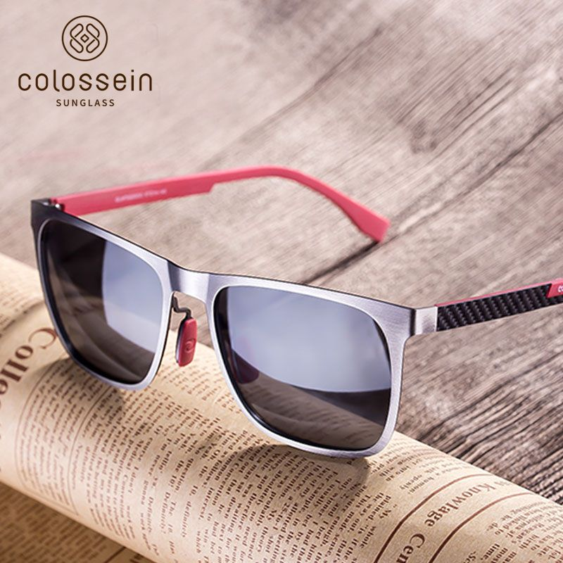 COLOSSEIN Sunglasses Men Polarized Classic Fashion Metal Square Frame Lens Grey Blue Style For Women Glasses UV400 Protection