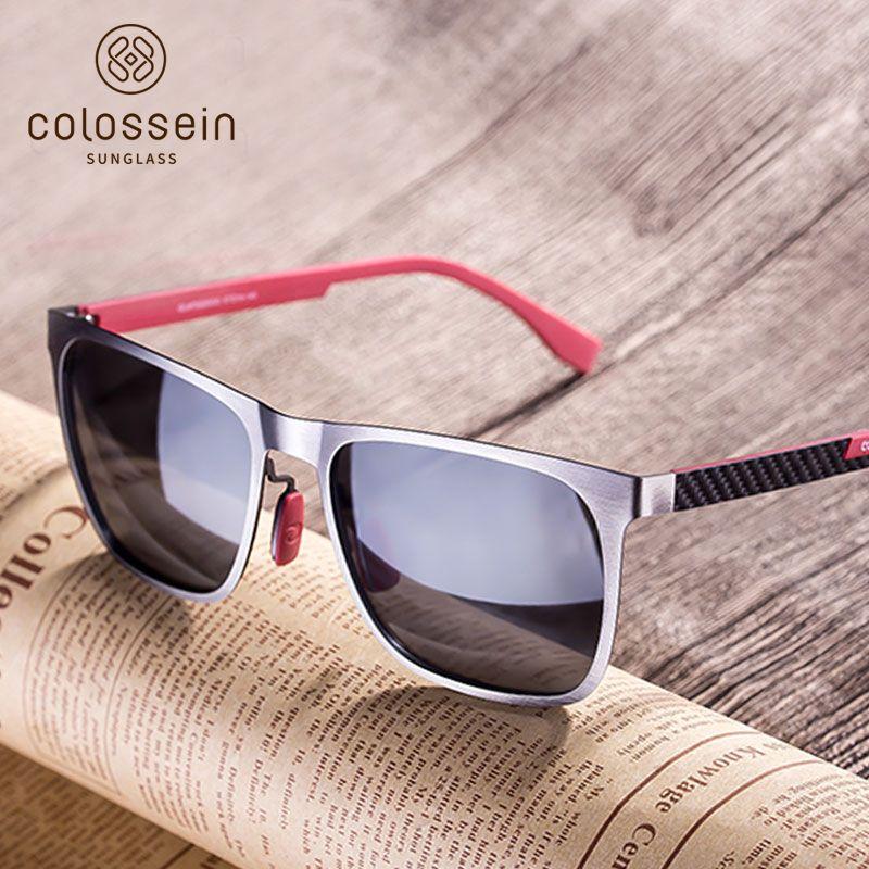 COLOSSEIN Sunglasses Men Polarized Classic Fashion Metal Square Frame Lens Grey Blue Style For Women Glasses UV400 Protection