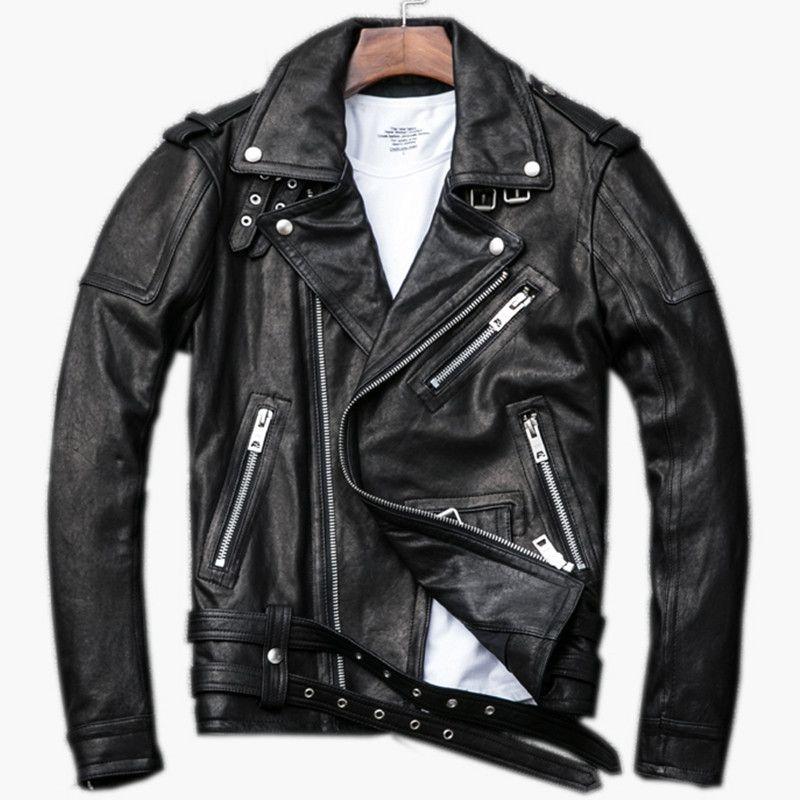2018 Black Men Diagonal Zipper Biker Leather Jacket Plus Size XXXL Genuine Sheepskin Short Leather Motorcycle Coat FREE SHIPPING