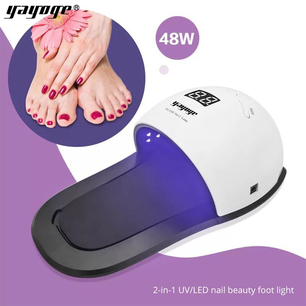 yayoge nail dryer led uv lamp for UV gel varnish nail polish 3 timing modes 10s/30s/99s hand and foot double-use Removable base