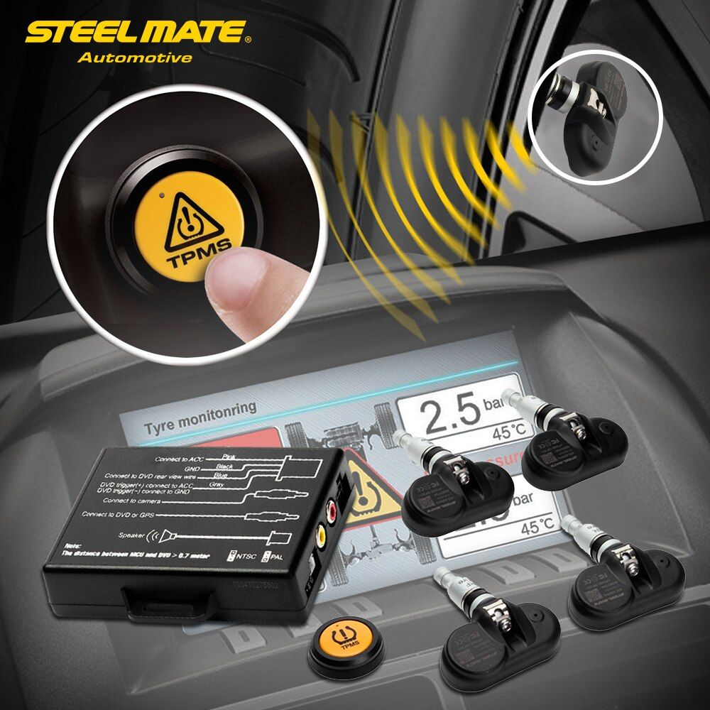 Steelmate TP-05 TPMS Tire Pressure Monitoring System for in-dash A/V Monitor with Remote Button 4 Professional Internal Sensors